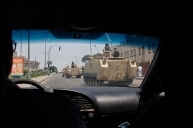After half an hour waiting for any taxi a nice guy agreed to take me and my colleague, and we saw army tanks spread in Nasr city after a while from clashes with pro-Morsi